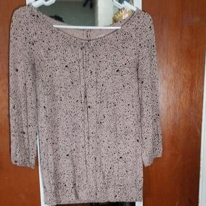 Spotted purple Ann Taylor Loft 3/4 sleeved blouse.